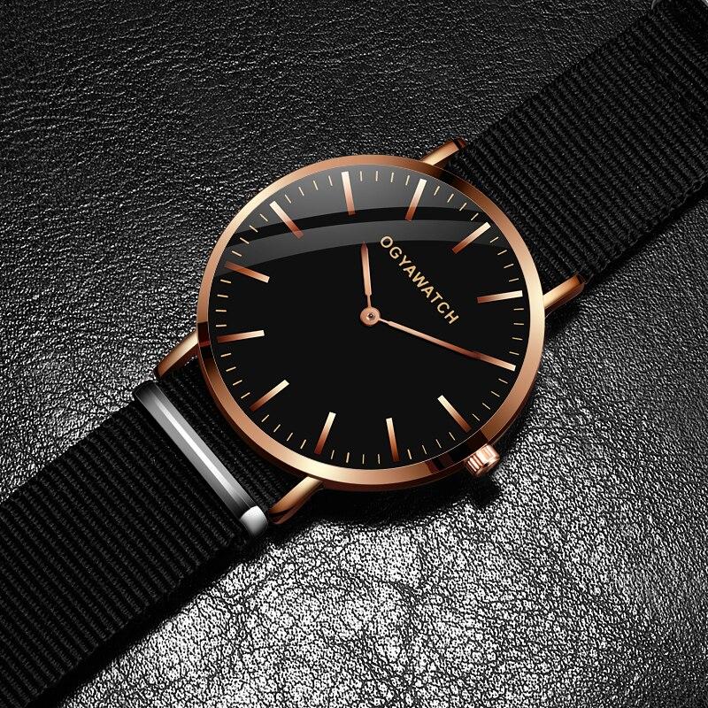 New OGY Mens Watches Simple Relogio Masculino Saati Luxury Sports Quartz-Watch Leather Strap Nylon Men Wristwatch Reloj Hombre