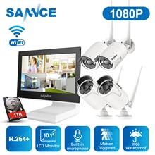 SANNCE 4 채널 와이파이 1080P ip 카메라 NVR CCTV 무선 카메라 시스템 4CH 와이파이 NVR 키트 와이파이 NVR 키트 CCTV 키트 1 테라바이트 HDD