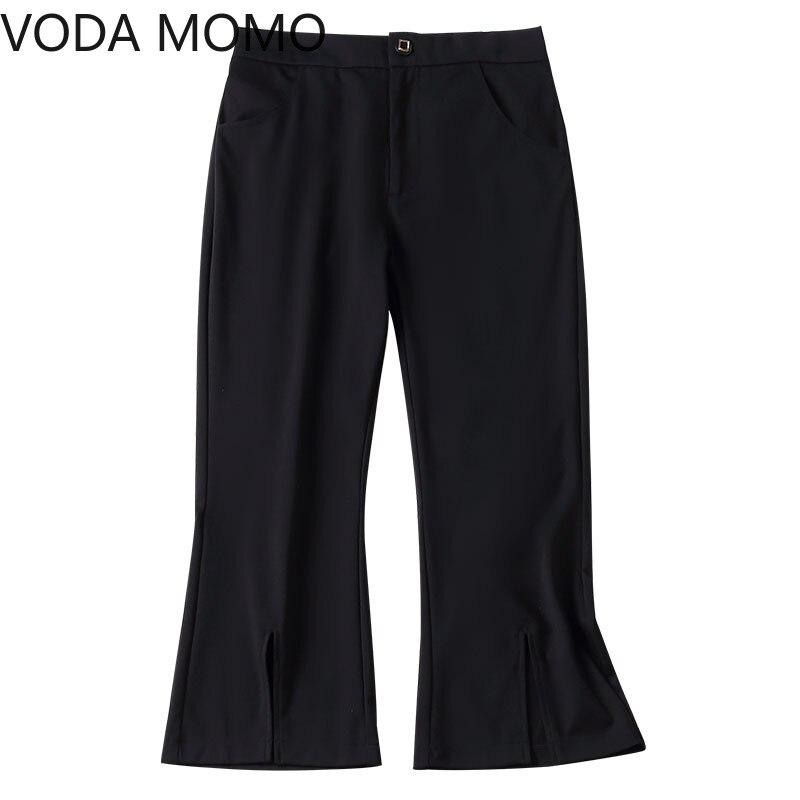 streetwear office work summer women's pants female high waist split up flare pants capris for women trousers woman Plus size