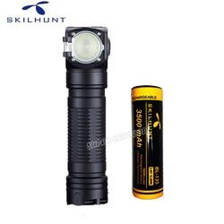 Skilhunt H04 H04R H04F RC 1200 lumen dos IU USB personalizado linterna magnética recargable caza Camping + diadema + batería