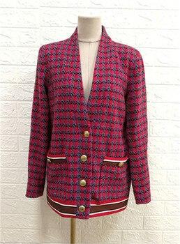 France style elegant women's V-neck jackets 2019 autumn women high qiality plaid tweed coat B030 2018 autumn women pearls o neck tassels jackets coat elegant ladies plaid tweed coat d526