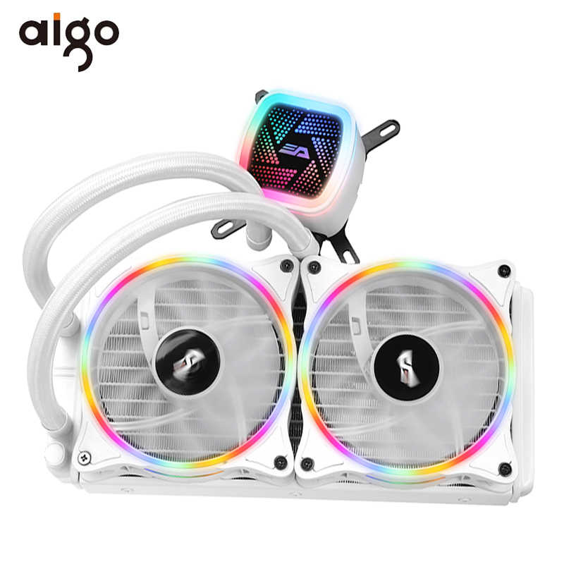 Aigo Cpu Cooler Vloeistof 120 Mm Radiator Stille Ventilator Pwm Computerkast Water Cooler Alle-In-een Cpu cooling Intel/Amd AM4 Met Ondersteuning