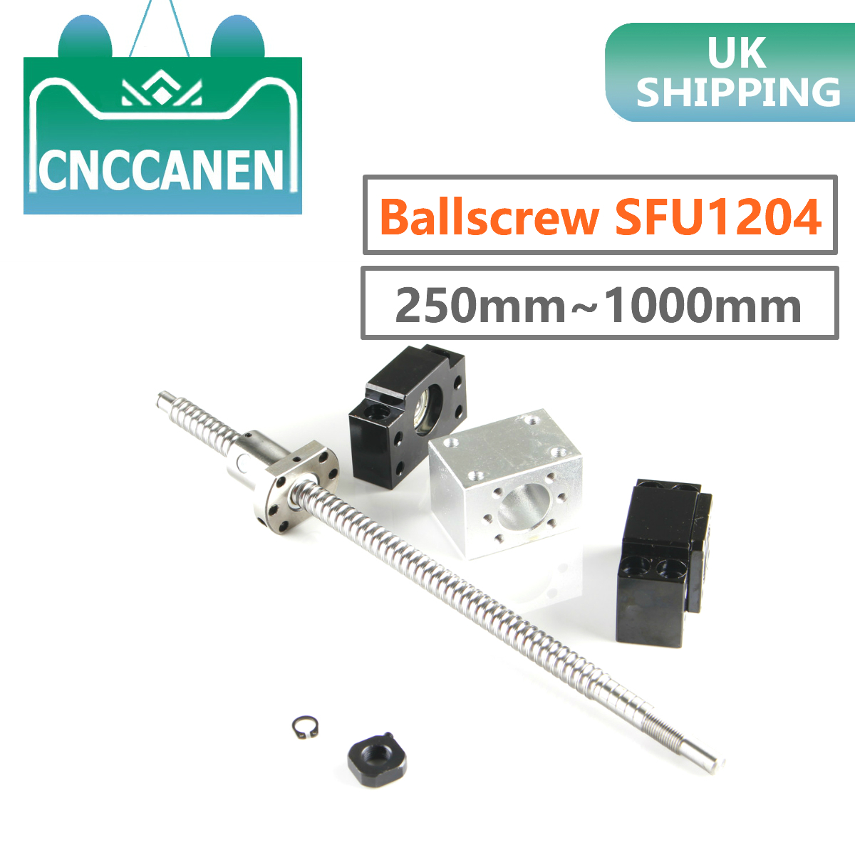 Ballscrew SFU1204-250 300mm 350 400 450 500 550 600 800 1000mm End Machined With BF/BK10 End Support & Ballnut Housing