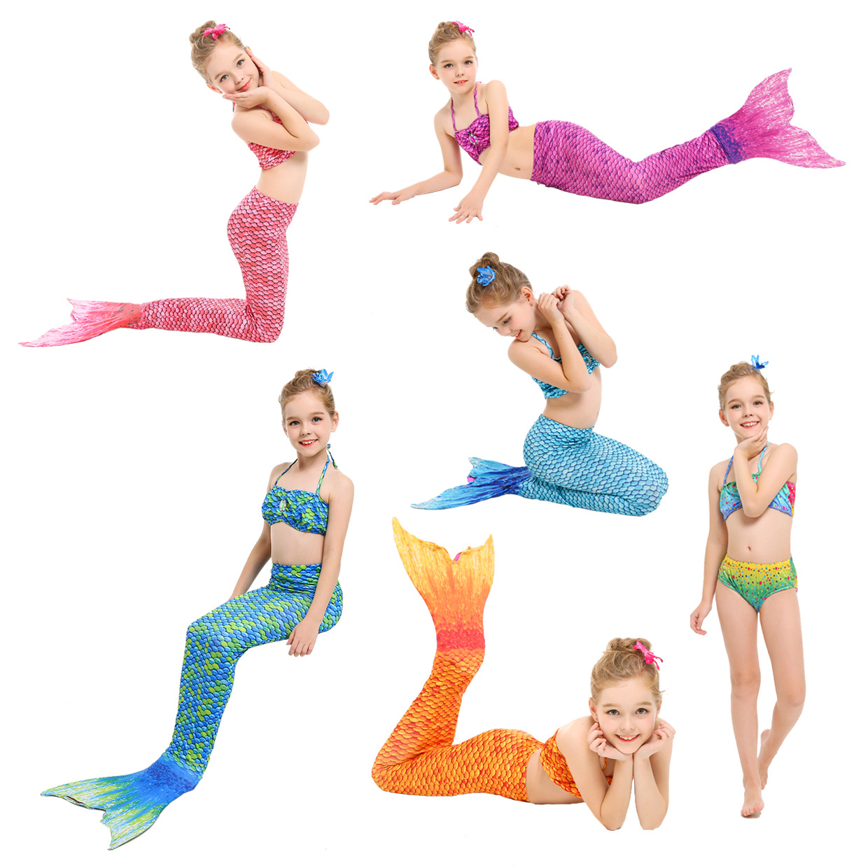 Hot Selling Mermaid Swimsuit KID'S Swimwear Mermaid Tail GIRL'S Bikini Tour Bathing Suit One-piece Swim Fins