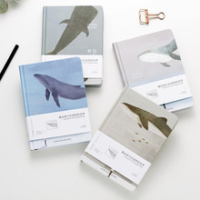 A5 Whale Travel Alone Color Pages Notebook Creative Pocket Bullet Journal Planner Filofax Harcover Notebook with Colored Pages