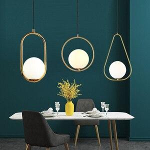 Image 2 - Современные подвесные светильники, скандинавские минималистичные подвесные светильники, потолочное украшение, стеклянный шар, лампа для гостиной, спальни, столовой