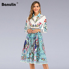 Banulin Women's 2020 Runway Floral Midi Dress Long Sleeve Robe Floral Print Slim