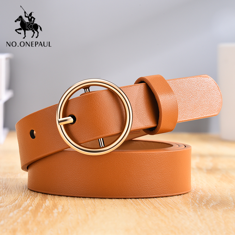 NO.ONEPAUL Golden Round Pin Buckle Women Fashion Simple Ladies Trend Leather Belt For Women's New Youth Brand Belt Free Shipping
