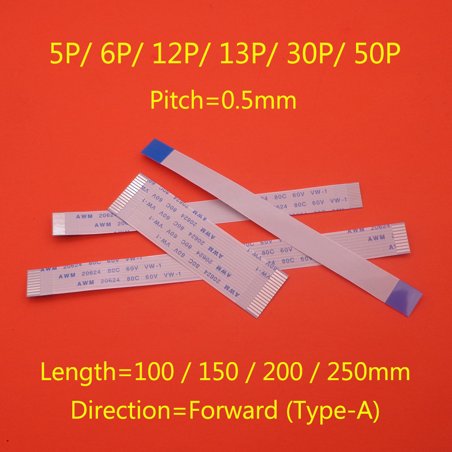 1PCS Flat Flexible Cable FFC FPC LCD Cable 0.5mm Pitch A Forward Length 100mm 150mm 200mm 250mm 5/6/12/13/30/50 Pin