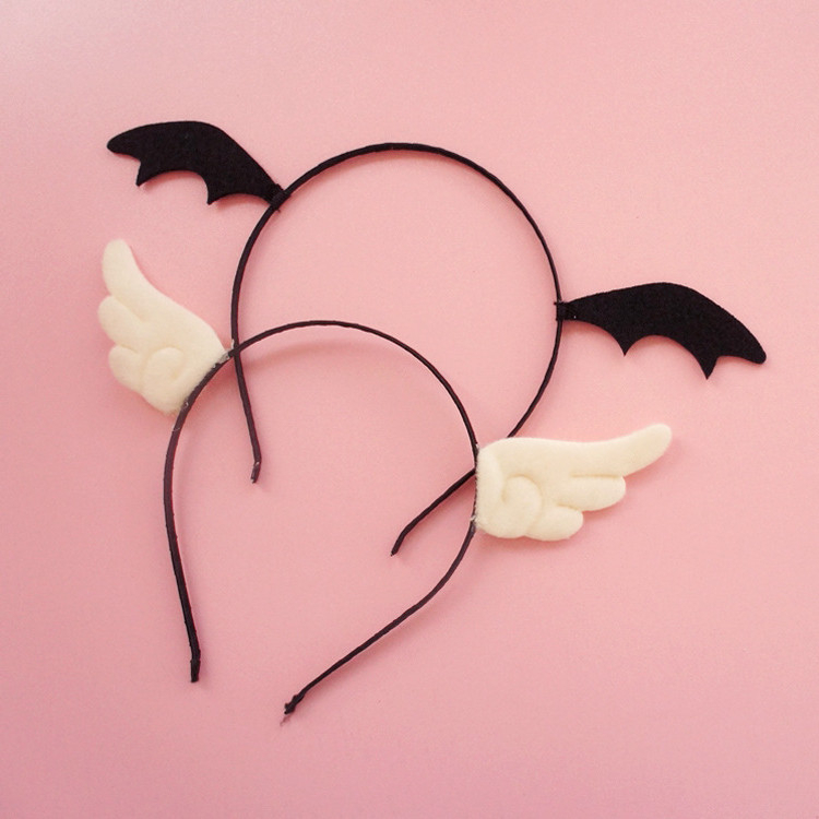 Handmade Kawaii Black Devil White Angel Hairpin Headband Sexy Cosplay Accessories Hair Hoops Lady Lovely Kitten Headdress