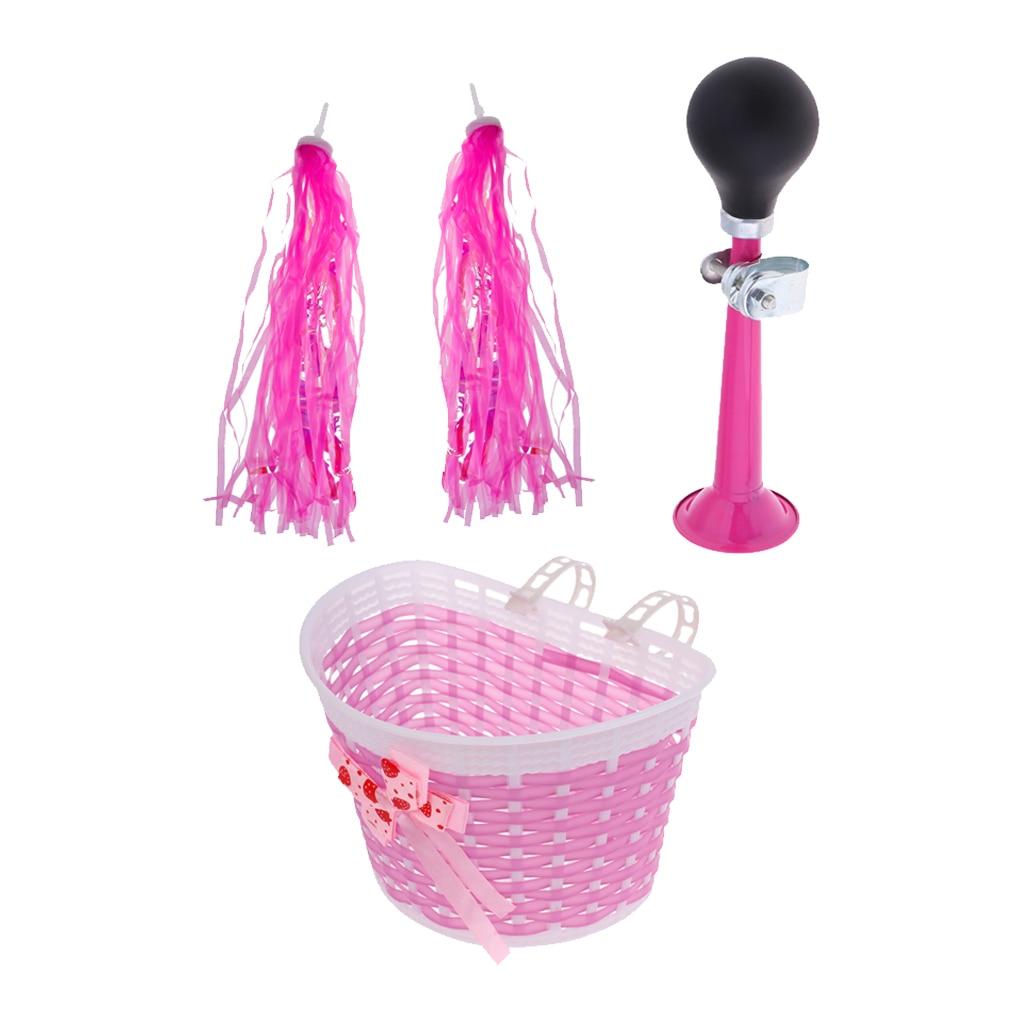 2X Bike Grip Streamers Pink Girls Bicycle Front Shopping Detachable Basket