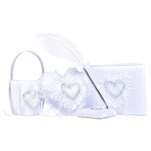 Wedding Party Supplies Bride Ring Pillow Box Feather Ball-point Pen Rhinestone Heart Flower Basket Set rhinestone vintage flower ring