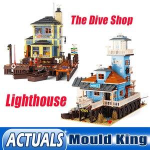 Ешина 12001 город МОС Street, строительные блоки, игрушки, дайв-магазин модель маяка 16050 сборки кирпичи Наборы детские рождественские подарки