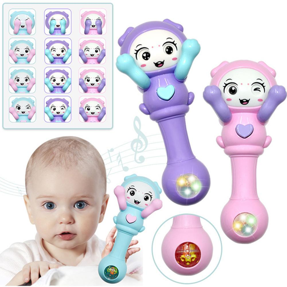 Cute Baby Hand Rattle Toy Hide Seek Face LED Glowing Music Hand Rattle Developmental Baby Educational Toy Gift