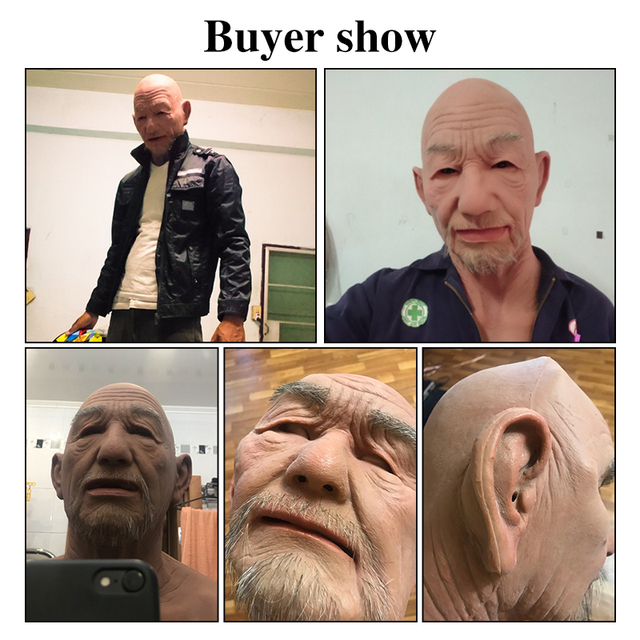 EYUNG Old William High Quality Realistic Silicone Mask-s, Old Man Masquerade For April Fool's Day Full Head Tricky M-ask props 1