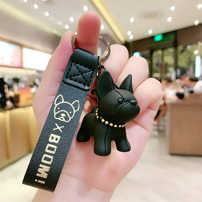 Cute French Bulldog Keychains PU Leather Rope Key Rings Punk Style Pendant Dog Keychains For Women Child Men's Car Key Chain