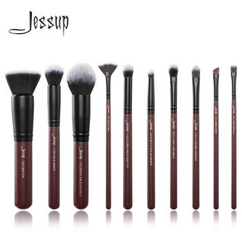 Jessup Pędzelki do Makijażu Profesjonalny Zestaw Pędzelków pod Oczy Pędzel do Ust Premium Syntetyczne włókno Włosy Czerwony Win tanie i dobre opinie COMBO CN (pochodzenie) Włosy syntetyczne 10PCS SET T259 Zestawy i zestawy Drewna Pędzel do makijażu Plum Black Wood Aluminum