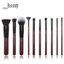 Jessup brushes 10pcs/set Plum Makeup brushes Cosmetic tools Make up brush set blend foundation eyeshadow