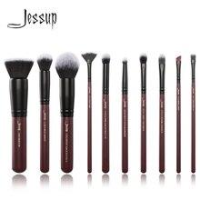 Jessup pinceaux 10 pièces/ensemble prune pinceaux de maquillage outils cosmétiques maquillage ensemble de pinceaux mélange fond de teint fard à paupières