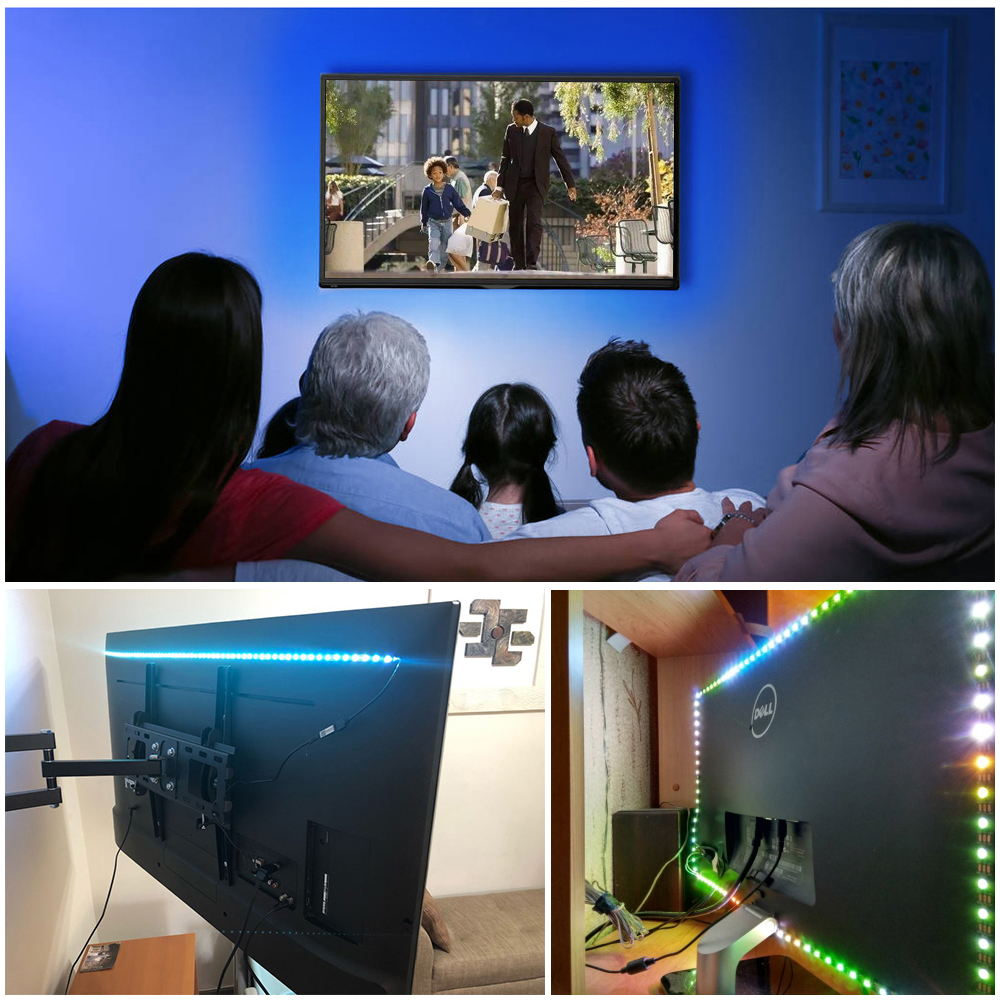 Image 5 - LED USB lumière de bande 5050 RGB changeable Diode Bande 5V 50CM 1M 2M 3M 4M 5M DIY flexible RGB LED Ruban pour PC TV écran rétro éclairage    -