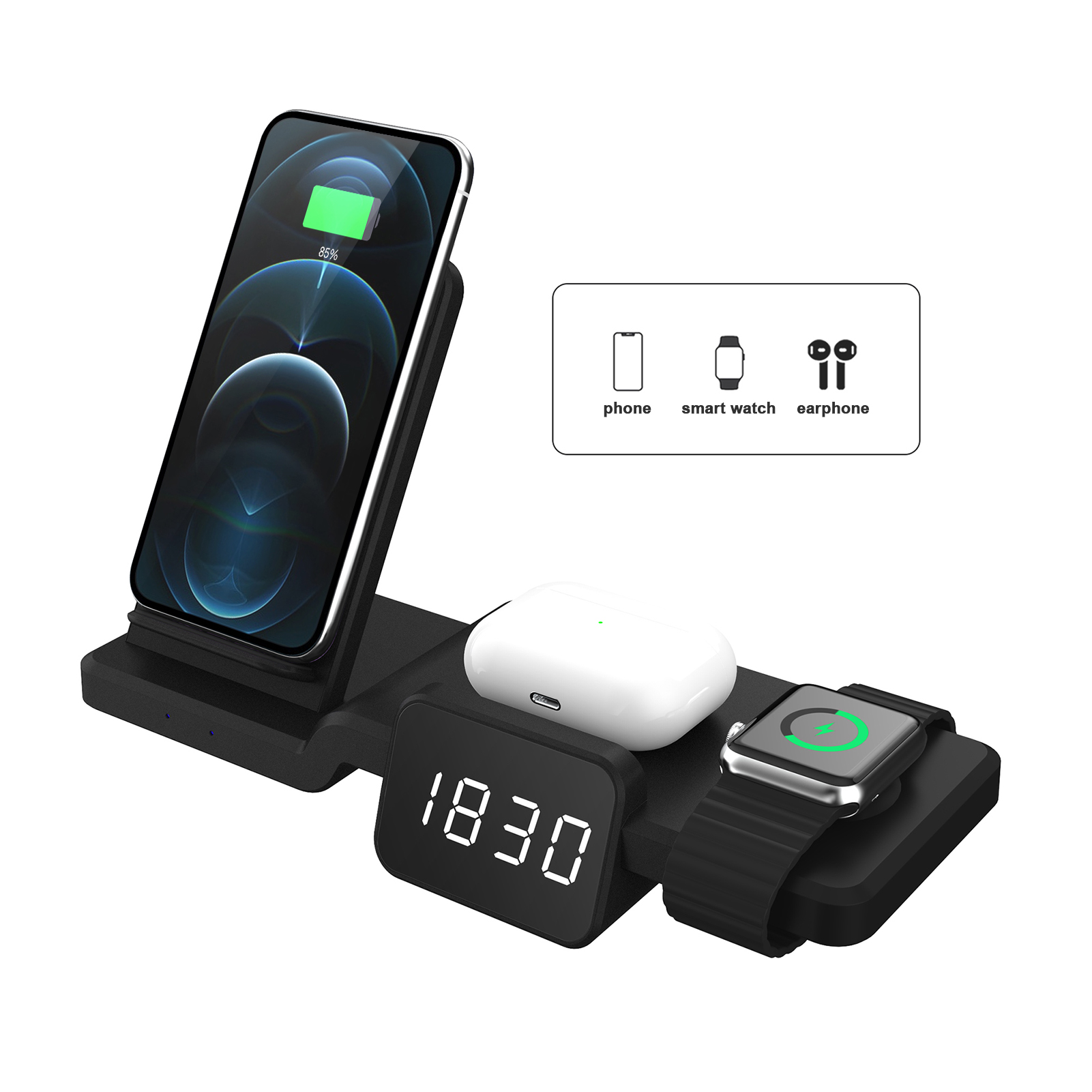 Newst Qi Wireless Charger Stand Charging Dock Station 3 in 1 with Clock for Iphone 12 XS X for Apple Watch 6 Airpods Pro USB