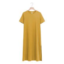 Casual kobiety Split długa sukienka O-neck z krótkim rękawem jednolity niebieski lato bawełniana koszulka sukienka sprzedaż M30465 tanie tanio COTTON spandex Proste REGULAR WOMEN NONE Na co dzień Naturalne Stałe Połowy łydki
