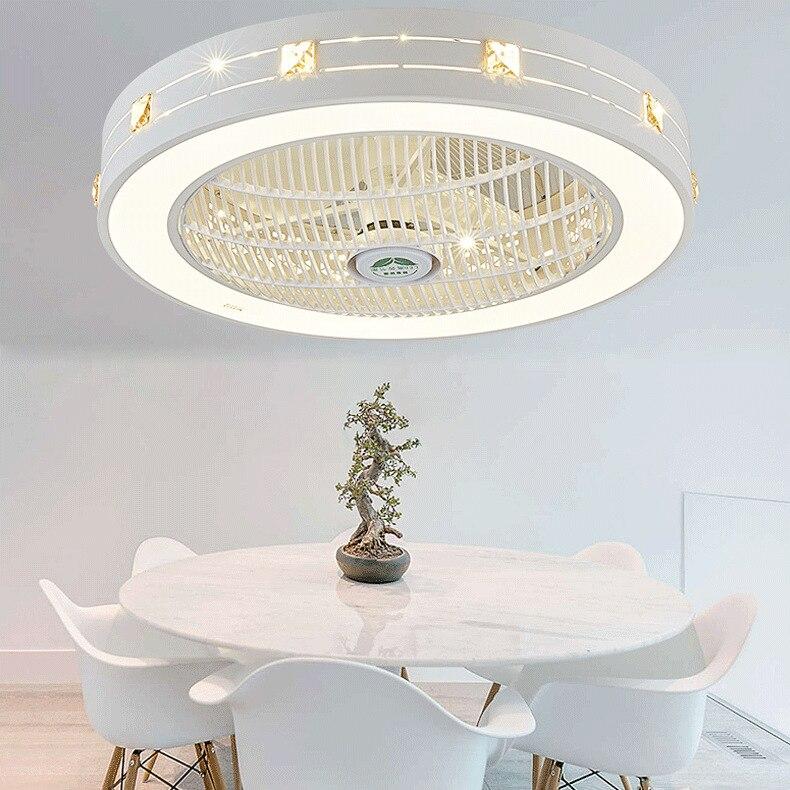 Bedroom Fan Lights Ceiling Fan Light Minimalist Modern Restaurant Living Room Light Belt Fan-style Ceiling Lamp Dianyuansu Shan