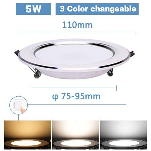 Светодиодный светильник 3 Вт, 5 Вт, 7 Вт, 9 Вт, 12 Вт, 15 Вт, Круглый встраиваемый светильник 220 В, 230 В, 240 в, 110 В, домашний декор, спальня, кухня, внутреннее точечное освещение - Испускаемый цвет: 5W 3 Color option