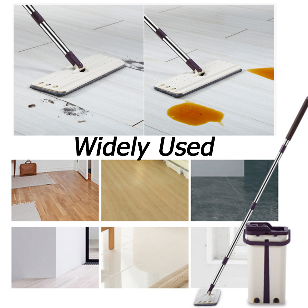 Hand-Free Spin Mop for Automatic Wet or Dry Mopping in 360-Degree Rotation Structure Design 4
