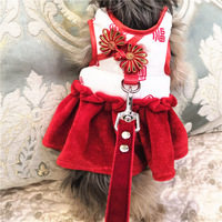 New Year New Style Dogs And Cats Fu Character Couples Chinese Costume Pet Anti Break Free Chest And Back Dog Clothing Pet Suppli