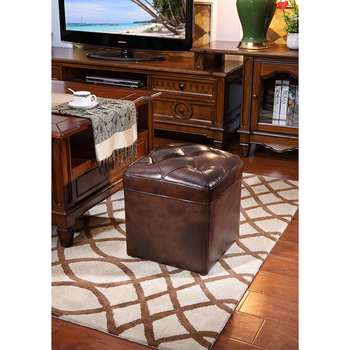 Genuine leather brown color stool for living room and sofa stool WA673