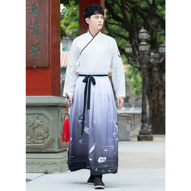 Blue Couple Dynastie Tang Chinese Traditional Hanfu White Han Element Cotton Women and Man Skirt Elegant Costume Clothing New