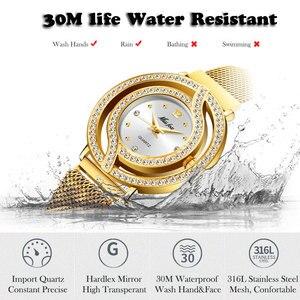 Image 4 - MISSFOX içi boş kadınlar için Milan örme kayış tam elmas izle bayanlar altın lüks moda Rado kol saati erkek saat saat