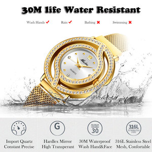 Image 4 - Часы MISSFOX женские, полые золотистые модные наручные, с миланским сетчатым браслетом, с бриллиантами, для мужчин и женщин