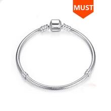 Sıcak satış SG 20cm yılan zincir gerçek 925 ayar gümüş orijinal Charms bilezik lüks moda diy takı yapımı için kadın hediyeler