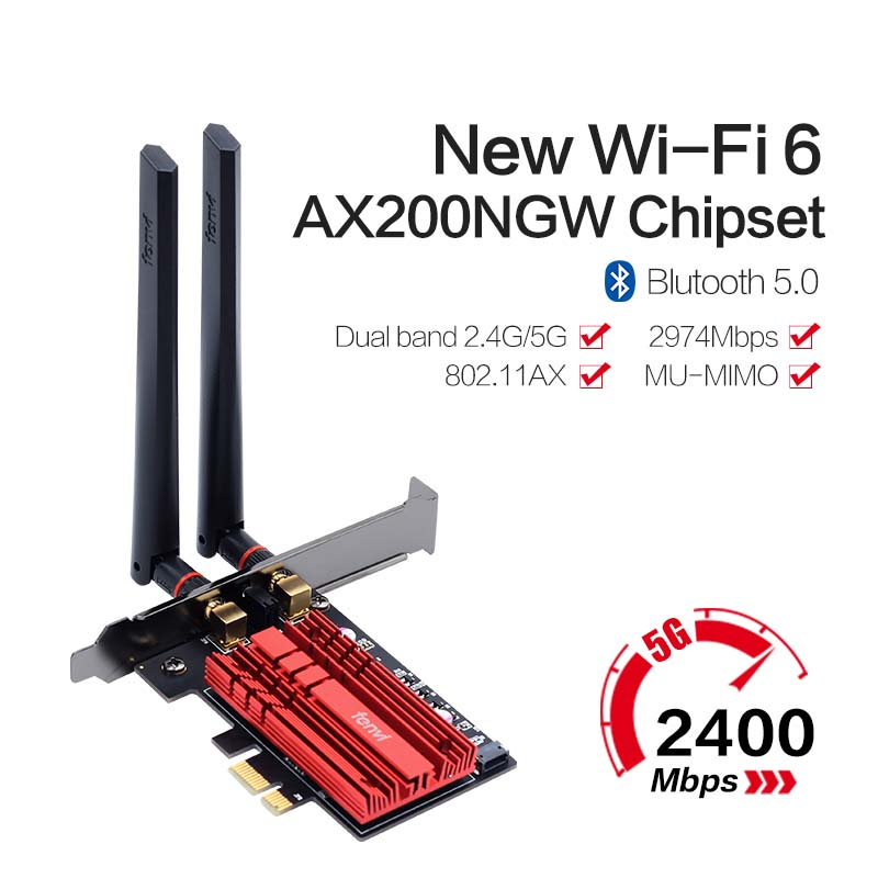 2400Mbps PCIe Wifi 6 Adapter Wireless Network Card For Intel <font><b>AX200</b></font> 802.11ac/ax 2.4G/5G Bluetooth 5.0 Desktop Windows 10 MU-MIMO image