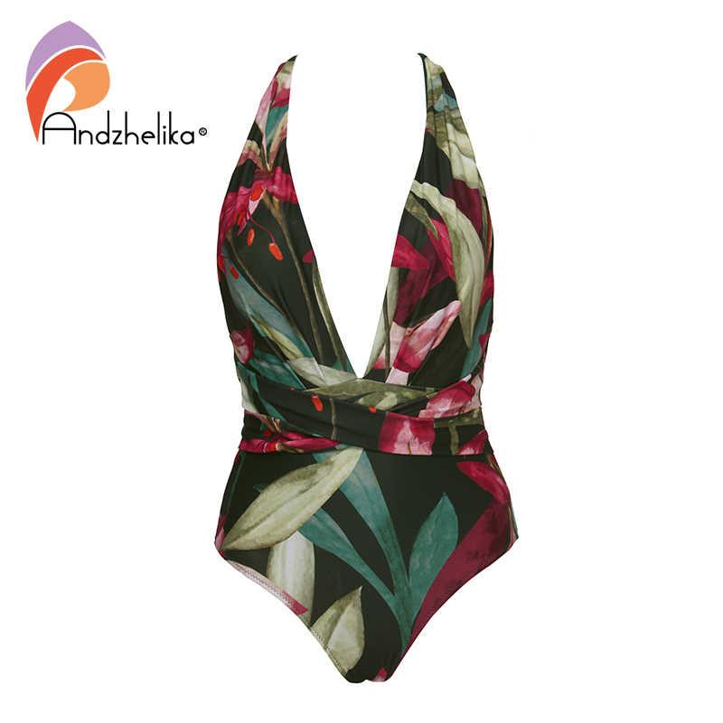Andzhelika v 넥 원피스 수영복 2020 섹시한 홀터 여성 브라질 빈티지 바디 슈트 Monokini 2020 Girls Beach Bathing Suit