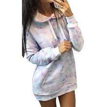 Long Sweatshirt Fashion Tie Dye Hoodies Women Casual Pocket bluza damska Colorful Print Pullover Mujer Streetwear D30