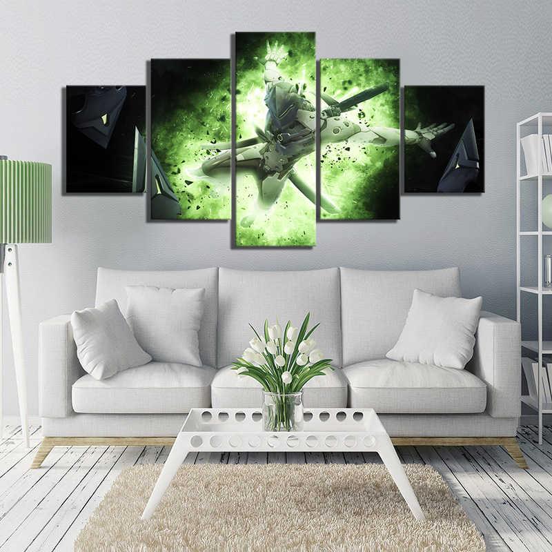 Duvar sanatı ev dekor boyama HD 5 Panel OW Genji video oyunu Overwatch baskı posteri tuval Cuadros modüler resim oturma odası