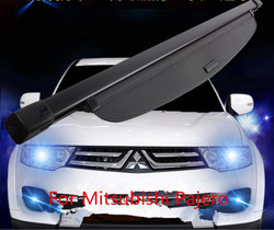 For Car Rear Trunk Security Shield Cargo Cover Fit For Mitsubishi Pajero Sport 2012-2015  (black beige)