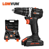 LOMVUM 20V Brushless Cordless Electric Drill LED Light Screwdriver Power Tools Lithium Ion Battery Electric Impact Drill Bits
