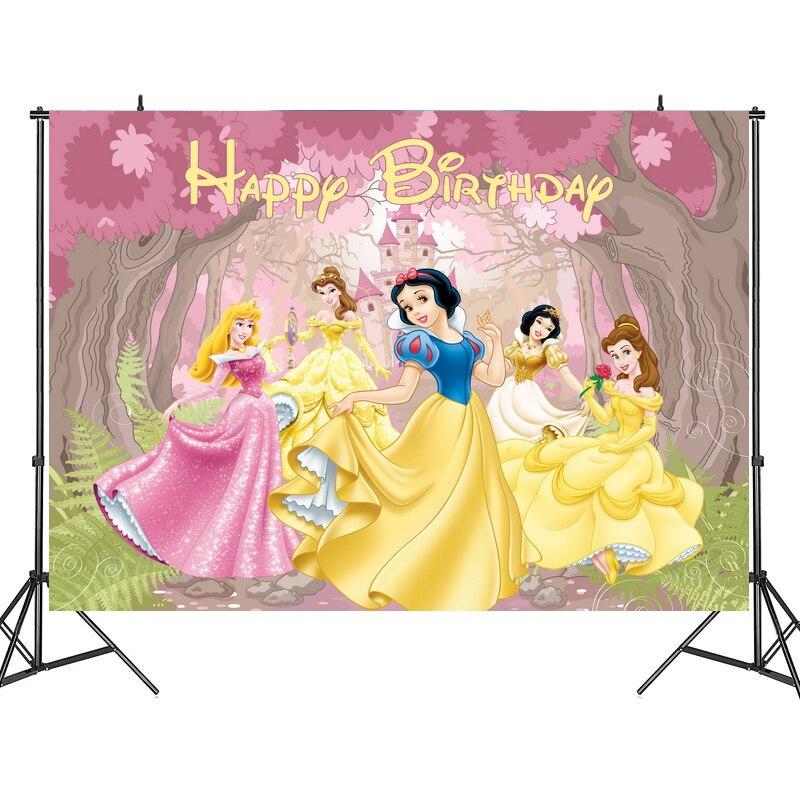 125x80 см фоны для вечеринки диснеевских принцесс занавеска фотобудка фон детская вечеринка на день рождения настенные украшения фон стойка
