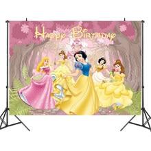 125x80cm disney princesa festa backdrops cortina photobooth pano de fundo decorações de parede de festa de aniversário das crianças pano de fundo