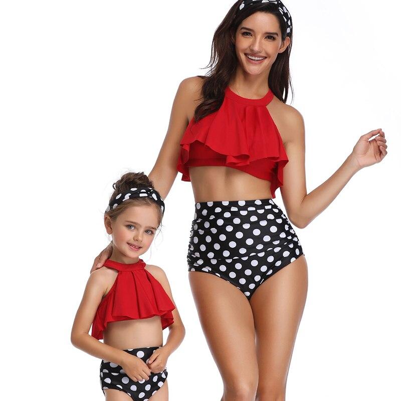 Купальный костюм для девочек возрастом от 3 до 12 лет, летний детский купальный костюм, одинаковый семейный купальник, бикини, комплект из 2 пр...