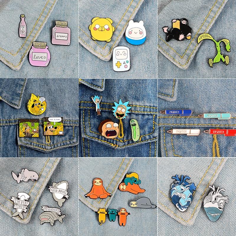 Super Bargain Enamel Pin Sets ! Cartoon TV Show Koala Sloth Cat Ocean Heart Brooches Badges Lapel pins