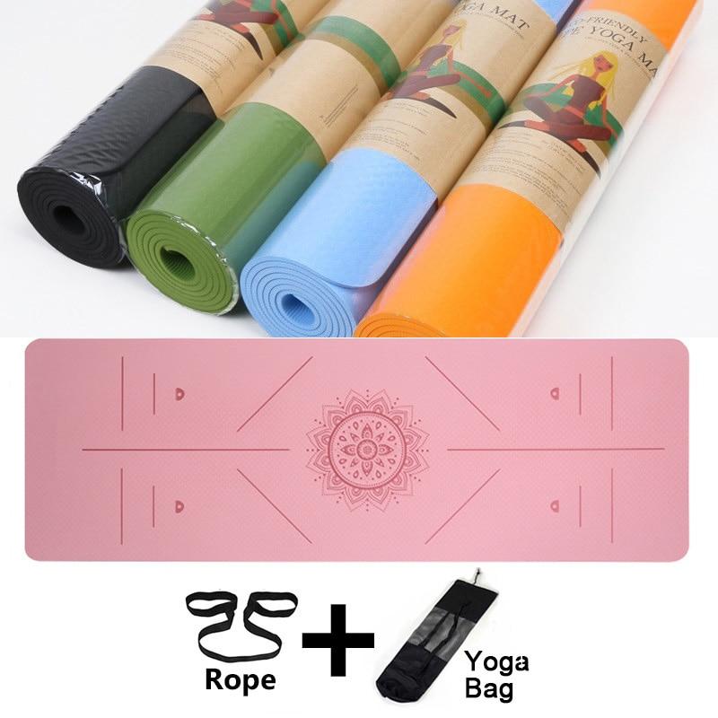 6mm tpe tapete de yoga com linha de posição esteira de exercício de fitness esteiras de ginástica não-deslizamento iniciante esporte tapetes de yoga