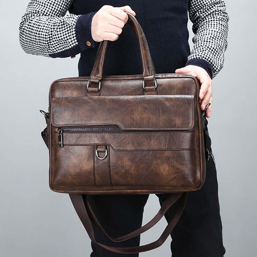 Retro Men Faux Leather Briefcase Large Capacity Tote Solid Color Shoulder Bag Large Casual Business Laptop Bags