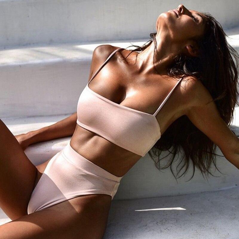 NOVEDAD DE VERANO 2021 Bikini, bañador para la playa cintura alta tubo Top de tres puntos de playa mallas traje Sexy traje de baño para mujer
