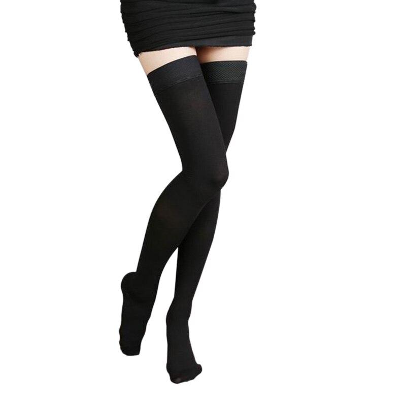 2019 Newly Women Anti-Slip Vein Elastic Stockings Thigh High 25-30mmHg Medical Compression Closed Toe Stockings Female