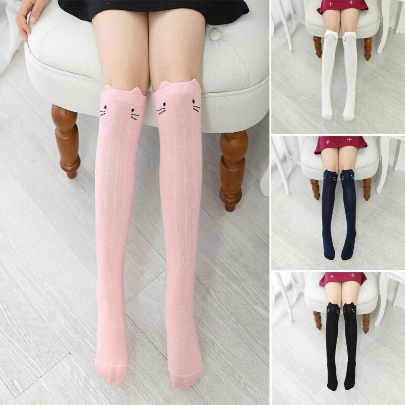 US STOCK Baby Toddler Girls Cotton Knee High Socks Tights Leg Warmer Stockings